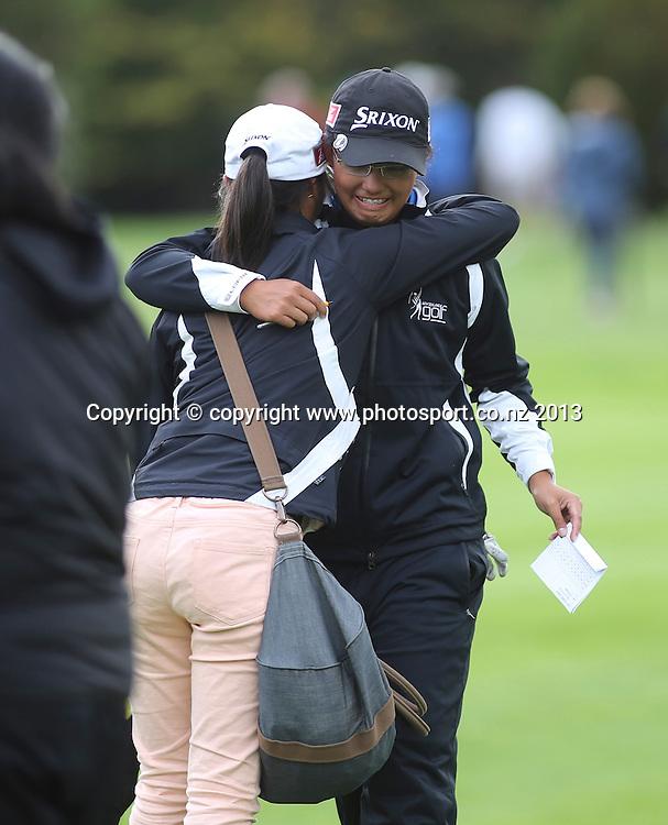 Julianne Alvarez sheds a few tears after winning the final of the 2013 New Zealand Amateur Championship, Manawatu Golf Club, Palmerston North, New Zealand. Sunday 26 April 2013. Photo: John Cowpland / photosport.co.nz