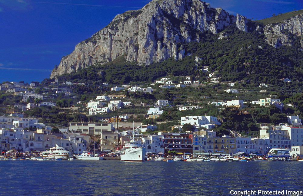 Harbor of Capri called Marina Grande on the Isole di Capri in the Bay of Naples, Region of Campania, Italy