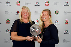 CARDIFF, WALES - Monday, October 5, 2015: Vauxhall's Cheryl Stibbs presents Wales' Kylie Davies with the Woman's Player of the Year Award during the FAW Awards Dinner at Cardiff City Hall. (Pic by Ian Cook/Propaganda)