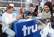 Bobby Brantley, left, Amy Shirley, center, and Ron Shirley, of Lizard Lick Towing greet fans at the truTV & GUINNESS WORLD RECORDS event celebrating the premiere of the Guinness World Records Unleashed series, in New York's Times Square, Wednesday, Nov. 6, 2013. (Photo by Diane Bondareff/Invision for Turner Broadcasting Inc/AP Images)