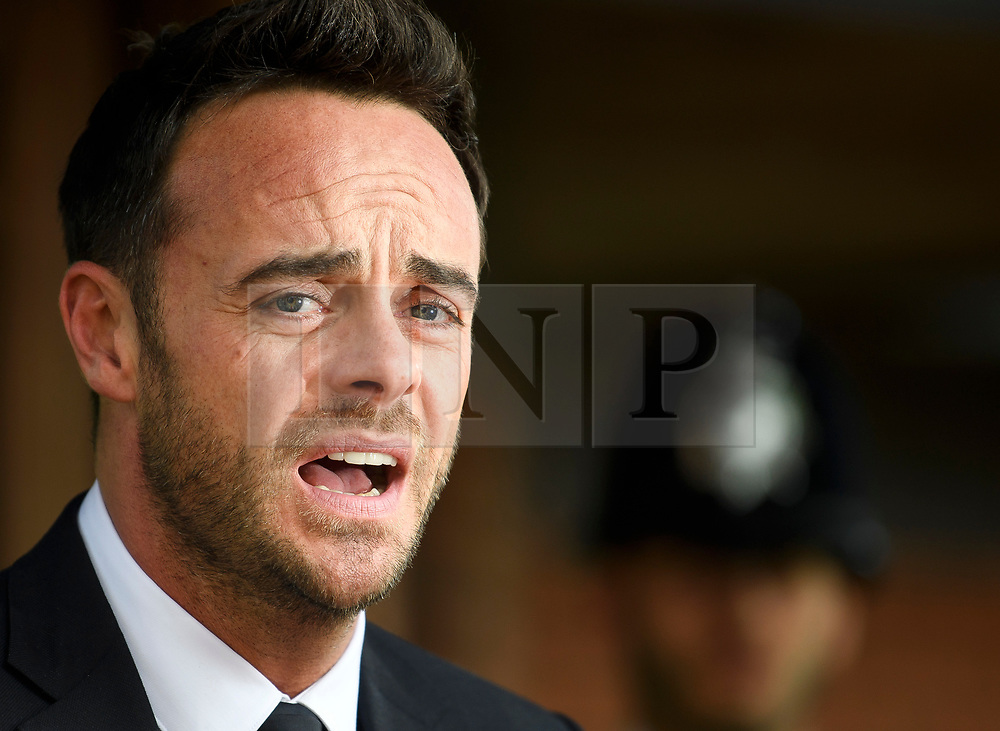 © Licensed to London News Pictures. 16/04/2018. London, UK. TV presenter ANT MCPARTLIN reads a statement to media as he leaves Wimbledon Magistrates Court in London after pleading guilty to the charged of drink driving. Photo credit: Ben Cawthra/LNP