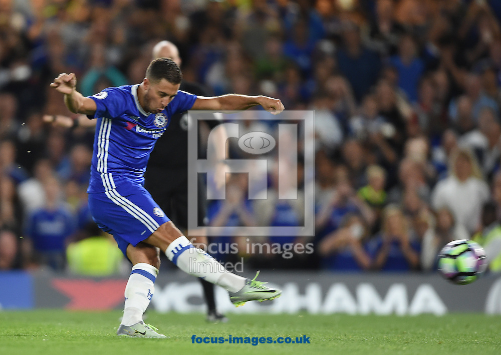 Chelsea's Eden Hazard scores their first goal from the penalty spot during the Premier League match at Stamford Bridge, London<br /> Picture by Daniel Hambury/Focus Images Ltd +44 7813 022858<br /> 15/08/2016