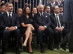 September 30, 2016 - Jerusalem, ISRAEL - Britain's Prince Charles, center, sits with Israeli Minister of Sport and Culture Miri Regev, as French President Francois Hollande, right, sits nearby, during the burial ceremony at the funeral of former Israeli President Shimon Peres at Mount Herzl Cemetery in Jerusalem, Friday, Sept. 30, 2016. Shimon Peres was being laid to rest on Friday in a ceremony attended by thousands of admirers and dozens of international dignitaries √¢'Ǩ≈°√جø¬Ω√جø¬Ω√É¬Æ in a final tribute to a man who personified the history of Israel during a remarkable seven-decade political career and who came to be seen by many as a visionary and symbol of hopes of Mideast peace. (Credit Image: © Prensa Internacional via ZUMA Wire)