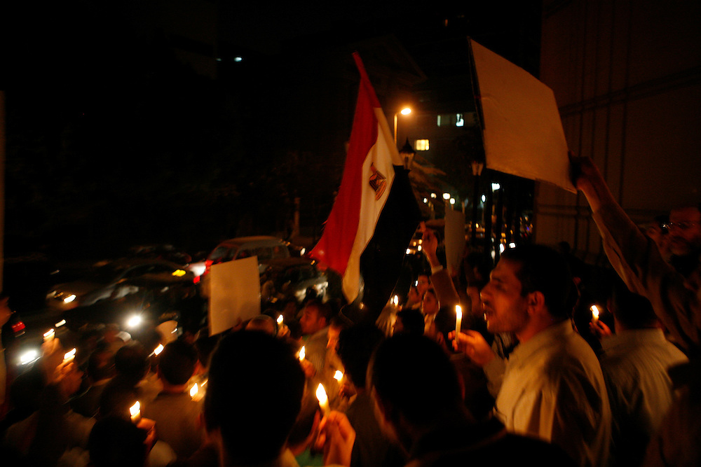 A demonstration in support of Gaza in dowtown Cairo.