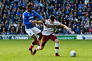 Jamal Lowe (18) of Portsmouth battles for possession with Tom Field (15) of Bradford City during the EFL Sky Bet League 1 match between Portsmouth and Bradford City at Fratton Park, Portsmouth, England on 28 October 2017. Photo by Graham Hunt.