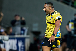 March 30, 2018 - Melbourne, VIC, U.S. - MELBOURNE, AUSTRALIA - MARCH 30 : Ngani Laumape of the Wellington Hurricanes  celebrates after his try during Round 7 of the Super Rugby Series between the Melbourne Rebels and the Wellington Hurricanes on March 30, 2018, at AAMI Park in Melbourne, Australia. (Photo by Jason Heidrich/Icon Sportswire) (Credit Image: © Jason Heidrich/Icon SMI via ZUMA Press)