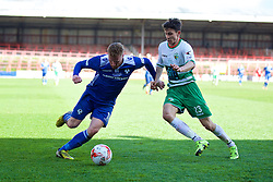 WREXHAM, WALES - Monday, May 2, 2016: Airbus UK Broughton's James Owen and The New Saints' Aaron Edwards during the 129th Welsh Cup Final at the Racecourse Ground. (Pic by David Rawcliffe/Propaganda)