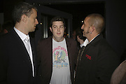 Producer: John Battsek and directors John Dower and Paul Crowde, Drinks at OQO, Islington Green  after  screening of ' Once In a Lifetime-Thje extraordinary Story of the New York Cosmos at the Screen On the Green, Islington. London. 15 May 2006. ONE TIME USE ONLY - DO NOT ARCHIVE  © Copyright Photograph by Dafydd Jones 66 Stockwell Park Rd. London SW9 0DA Tel 020 7733 0108 www.dafjones.com