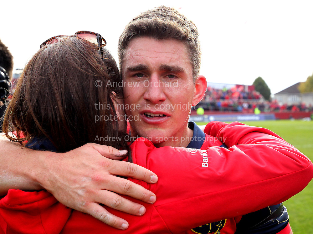 an Emotional Ian Keatley of Munster looks on. European Rugby Champions cup match, pool one, Munster Rugby v Glasgow Warriors at Thomond Park in Limerick , Ireland on Saturday 22nd October 2016.<br /> pic by  John Halas, Andrew Orchard sports photography.