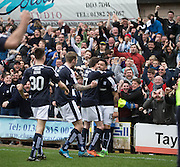 Dundee&rsquo;s Kane Hemmings is congraulated after scoring - Dundee United v Dundee in the Ladbrokes Premiership at Tannadice<br /> <br />  - &copy; David Young - www.davidyoungphoto.co.uk - email: davidyoungphoto@gmail.com