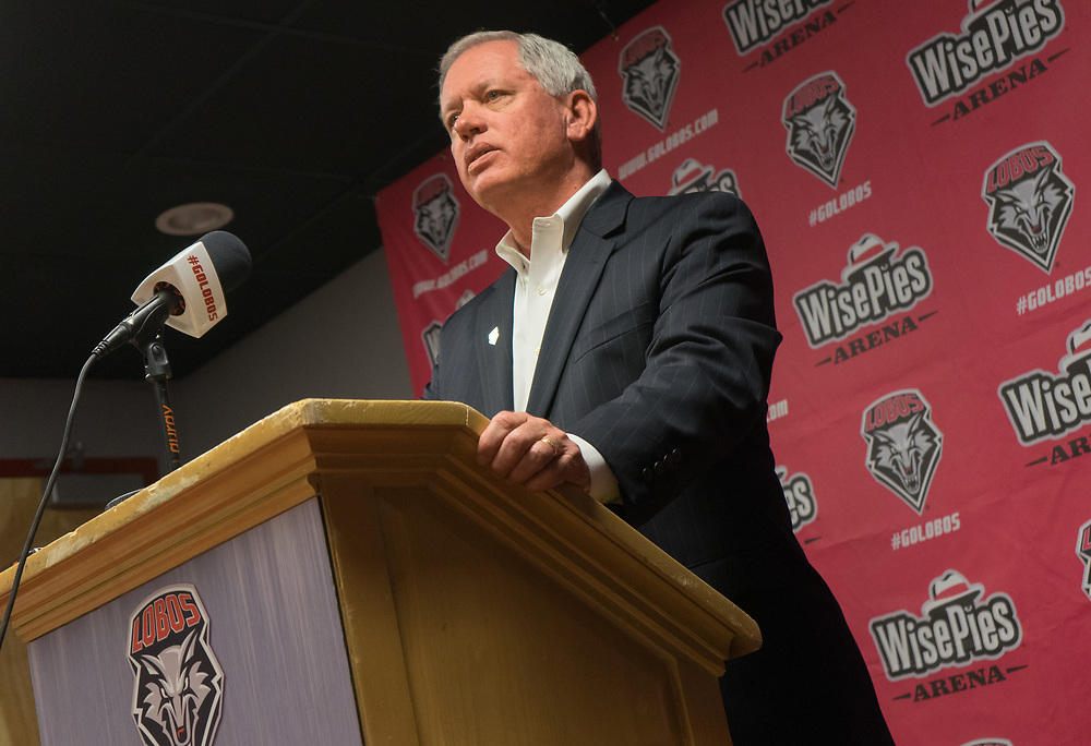 03.18.16/ UNM's Vice President of athletics Paul Krebs (Cq) held a press conference  Friday afternoon to announced he had terminated UNM women's basketball coach Yvonne Sanchez's contract.<br /> Albuquerque, New Mexico(Roberto E. Rosales/Journal)