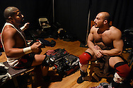 """Jaka"" (l) and Chris Dickinson, wrestling partners for years, talk backstage at the Beyond Wrestling Organization's ""Dream Left Behind"" event, held at the Center for Arts at the Armory in Somerville, Sunday, Jan. 31, 2016."