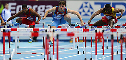 08.03.2014, Ergo Arena, Sopot, POL, IAAF, Leichtathletik Indoor WM, Sopot 2014, im Bild 60 m plotki, hurdles, Yordan O'Farrill (CUB), Sergey Shubenkov (RUS), Jackson Quinonez (ESP) // 60 m plotki, hurdles, Yordan O'Farrill (CUB), Sergey Shubenkov (RUS), Jackson Quinonez (ESP)  during day two of IAAF World Indoor Championships Sopot 2014 at the Ergo Arena in Sopot, Poland on 2014/03/08. EXPA Pictures © 2014, PhotoCredit: EXPA/ Newspix/ Tomasz Jastrzebowski<br /> <br /> *****ATTENTION - for AUT, SLO, CRO, SRB, BIH, MAZ, TUR, SUI, SWE only*****