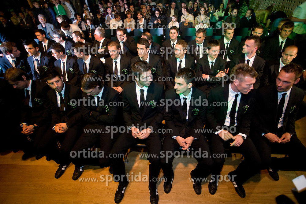 Players at official presentation of Slovenian National Football team for World Cup 2010 South Africa, on May 21, 2010 in Congress Center Brdo at Kranj, Slovenia. (Photo by Vid Ponikvar / Sportida)
