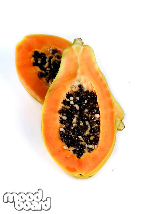 Papaya on white backgrouns - studio shot