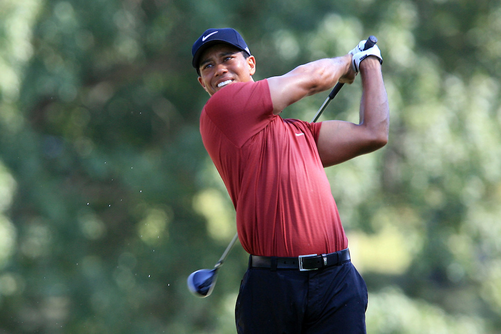 12 August 2007: Tiger Woods drives off the 13th tee during the final round of the 89th PGA Championship at Southern Hills Country Club in Tulsa, OK.
