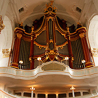 Europe, Germany, Hamburg. St. Michael's Church organ pipes.