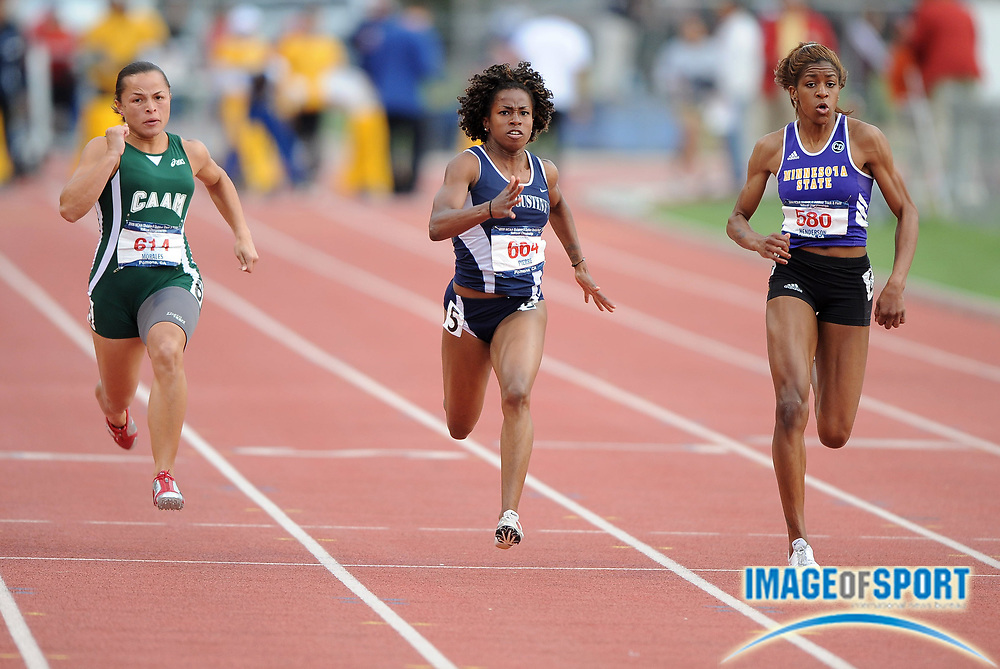 May 24, 2008; Walnut, CA, USA; From left: Celiangely Morales of Puerto Rico Mayaguez (614), Barbara Pierre of St. Augustine's (664) and Brittany Henderson of Minnesota State Mankato (580) compete in the women's 100m  in the NCAA Division II Track & Field Championships at Mt. San Antonio College's Hilmer Lodge Stadium. Pierre won in 11.47, followed by Morales (11.50), and Henderson (11.51).