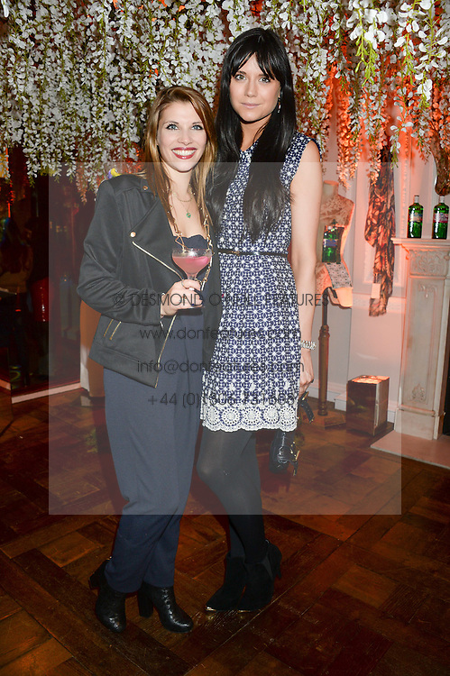 Left to right, PIPS TAYLOR and LILAH PARSONS at the launch of Gordon's 'Ten Green Bottles' by Temperley London held at Temperley London Flagship, 27 Bruton Street, London on 6th November 2013.