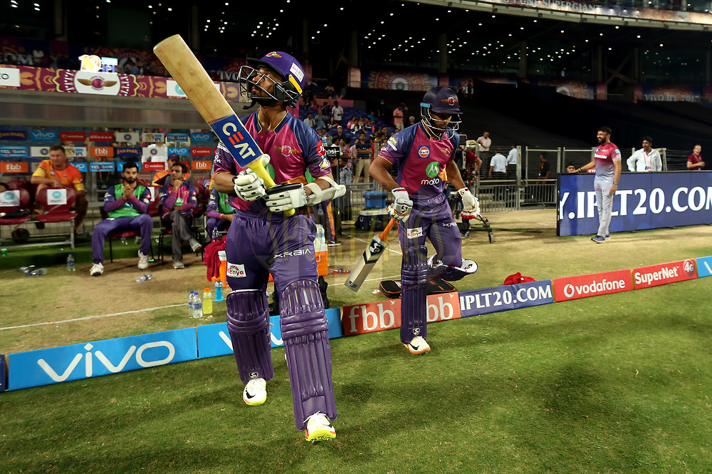 Ajinkya Rahane of Rising Pune Supergiant and Mayank Agarwal of Rising Pune Supergiant opening batsman of Rising Pune Supergiant during match 9 of the Vivo 2017 Indian Premier League between the Rising Pune Supergiants and the Delhi Daredevils held at the MCA Pune International Cricket Stadium in Pune, India on the 11th April 2017<br /> <br /> Photo by Sandeep Shetty- IPL - Sportzpics