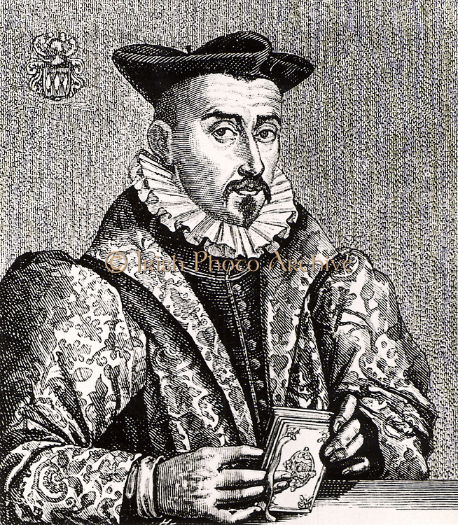 Martin Beer (1617-1692) German philosopher and geographer born at Nuremberg.  Engraving from From 'Icones Virorum' by Friedrich Roth-Scholtz (Nuremberg, 1725).