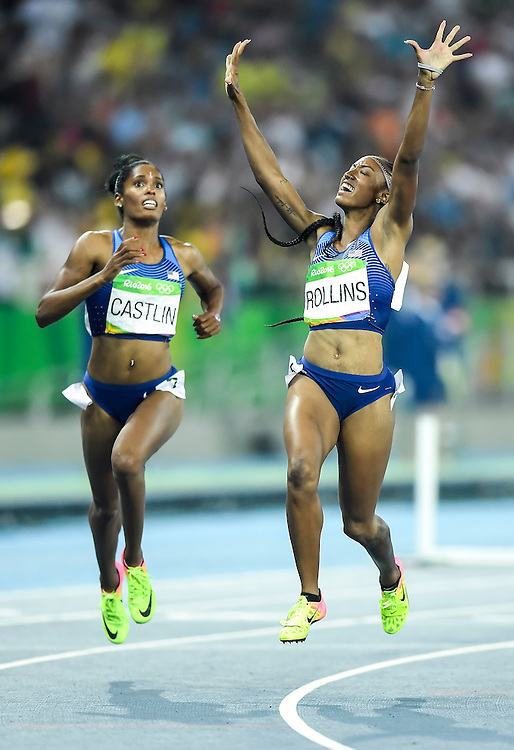 United States hurdler Brianna Rollins, right, won the gold medal in the women's 100m hurdles final on Thursday at Olympic Stadium during the 2016 Summer Olympics Games in Rio de Janeiro, Brazil.