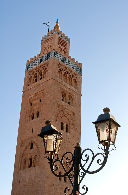 The minaret of the 12th century Koutoubia Mosque. The Koutoubia Mosque is Marrakech's oldest and largest architectural feature.