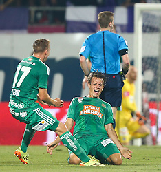 12.08.2015, Generali Arena, Wien, AUT, 1. FBL, FK Austria Wien vs SK Rapid Wien, 4. Runde, im Bild Torjubel Christopher Dibon (SK Rapid Wien) und Stefan Schwab (SK Rapid Wien) // during Austrian Football Bundesliga Match, 4th Round, between FK Austria Vienna and SK Rapid Vienna at the Generali Arena, Vienna, Austria on 2015/08/12. EXPA Pictures © 2015, PhotoCredit: EXPA/ Thomas Haumer