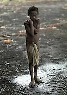 Vanuatu, Tafea Province, Tanna Island, boy in the cold