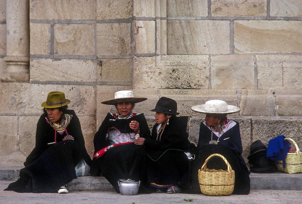 Saraguro Indians outside church on Sunday.