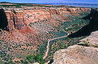 A view of Ute Canyon as seen from Ute Canyon overlook.  Colorado National Monument, Colorado.