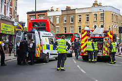 The scene on Denmark Hill and Danesville road where two suspected scooter-mounted thieves were arrested following a long chase that ended with a collision with a bus and a small van. Camberwell, London, August 17 2018.