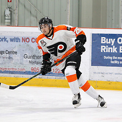 BURLINGTON, ON - SEP 9:  Nikolas Tsatsos #29 of the Orangeville Flyers during the pregame warm-up. OJHL regular season game between the Orangeville Flyers and the Burlington Cougars. Orangeville Flyers and Burlington Cougars  on September 9, 2016 in Burlington, Ontario. (Photo by Tim Bates / OJHL Images)