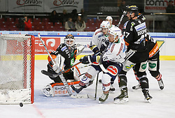 06.12.2015, Eisstadion Liebenau, Graz, AUT, EBEL, Moser Medical Graz 99ers vs EC VSV, 28. Runde, im Bild von links Sebastian Dahm (Moser Medical Graz 99ers), Valentin Leiler (EC VSV), Nico Brunner (EC VSV) und Evan Brophey (Moser Medical Graz 99ers) // during the Erste Bank Icehockey League 28th Round match between Moser Medical Graz 99ers and EC VSV at the Ice Stadium Liebenau, Graz, Austria on 2015/12/06, EXPA Pictures © 2015, PhotoCredit: EXPA/ Erwin Scheriau