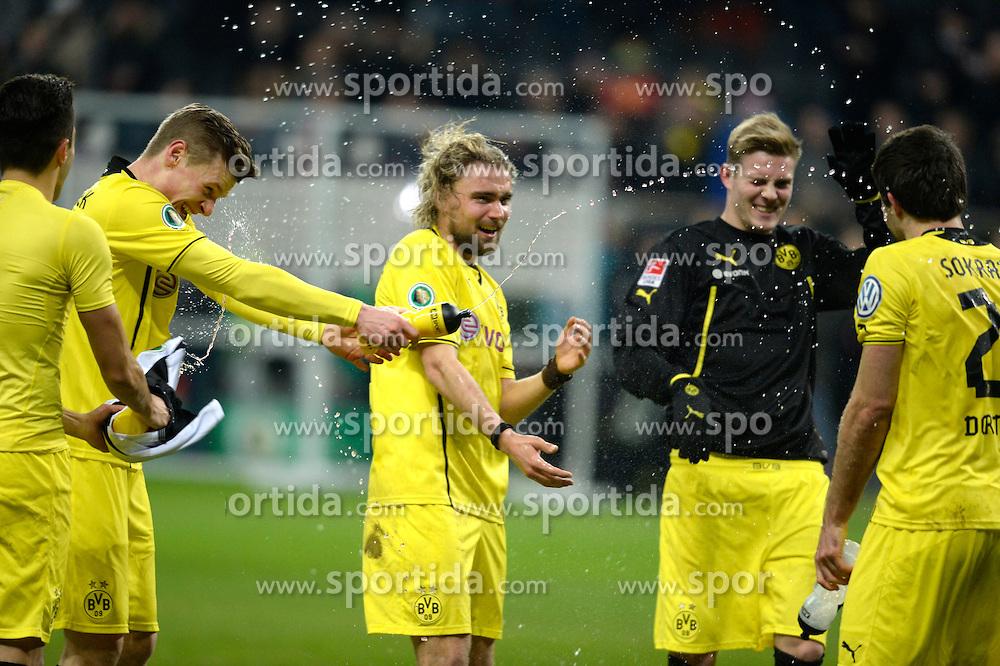 Football: Germany, DFB-Pokal, Eintracht Frankfurt - Borussia Dortmund, Frankfurt, 11.02.2014<br /> Dortmund-players celebrates: Lukasz Piszczek and Marcel Schmelzer <br /> &Atilde;'&Acirc;&copy;&Atilde;'&Acirc;&nbsp;pixathlon
