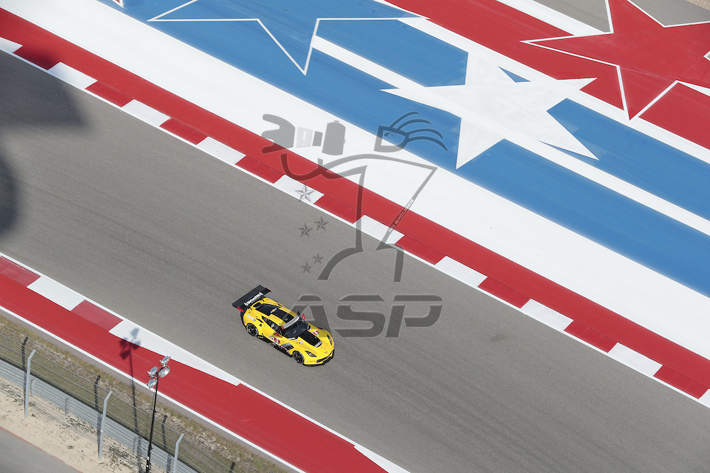 Austin, TX - Sep 15, 2016:  The Corvette Racing Chevrolet races through the turns at the Lone Star Le Mans at Circuit of the Americas in Austin, TX.