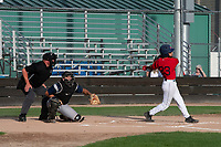 KELOWNA, BC - JULY 17: Tyler Grissom #23 of the Kelowna Falcons follows through on a hit against the Wenatchee Applesox at Elks Stadium on July 17, 2019 in Kelowna, Canada. (Photo by Marissa Baecker/Shoot the Breeze)