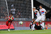 Mariano DIAZ MEJIA (Olympique Lyonnais) missed to score with Memphis DEPAY (Olympique Lyonnais) against Abdoulaye DIALLO (STADE RENNAIS FOOTBALL CLUB), Edson MEXER (STADE RENNAIS FOOTBALL CLUB) save the ball by a kick during the French championship L1 football match between Rennes v Lyon, on August 11, 2017 at Roazhon Park stadium in Rennes, France - Photo Stephane Allaman / ProSportsImages / DPPI