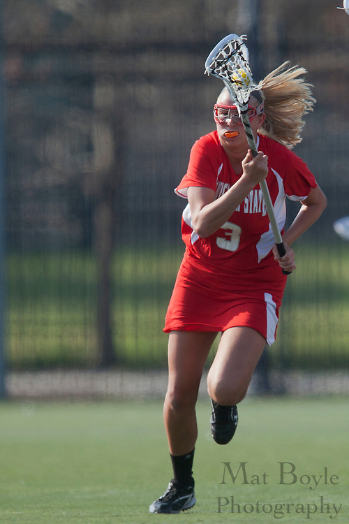 Rutgers University - Camden Lacrosse Junior Alexa Giampietro (3); Rutgers-Camden Lacrosse against Montclair State University  on Wednesday March 21, 2012. (photo / Mat Boyle)