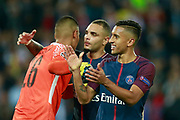 Paris Saint Germain's Brazilian defender Marquinhos gestures during the UEFA Champions League, Group B football match between Paris Saint-Germain and Bayern Munich on September 27, 2017 at the Parc des Princes stadium in Paris, France - Photo Benjamin Cremel / ProSportsImages / DPPI