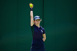 LONDON, ENGLAND - Tuesday, June 28, 2016: A ball girl during the Gentlemen's Singles 1st Round match on day two of the Wimbledon Lawn Tennis Championships at the All England Lawn Tennis and Croquet Club. (Pic by Kirsten Holst/Propaganda)