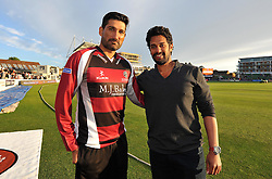 Somerset's Sohail Tanvir and Former Somerset player Arul Suppiah - Photo mandatory by-line: Harry Trump/JMP - Mobile: 07966 386802 - 05/06/15 - SPORT - CRICKET - Somerset v Hampshire - The County Ground, Taunton, England.