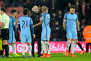 Manchester City manager Josep Guardiola celebrates the 2-0 win over Bournemouth at full time with Fernandinho (25) of Manchester City during the Premier League match between Bournemouth and Manchester City at the Vitality Stadium, Bournemouth, England on 13 February 2017. Photo by Graham Hunt.