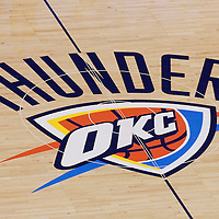14 June 2012: Thunder logo is seen on the court prior to Game 2 - Heat at Thunder - of the 2012 NBA Finals, at the Chesapeake Energy Arena, Oklahoma City, Oklahoma, USA.