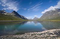 View along Rapa river, Rapadalen, Sarek National Park, Laponia World Heritage Site, Sweden