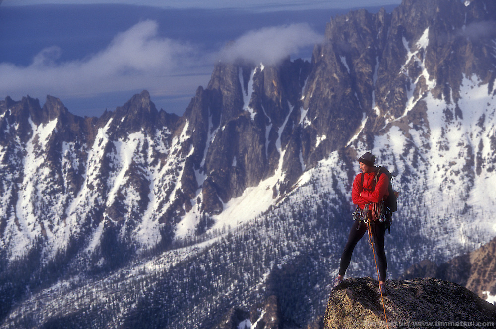 Kevin Kanning atop South Early Winter Spire, Washington Pass. The wine spires are behind him.