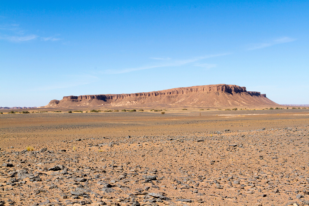FOUM ZIGUID, MOROCCO - 29th April 2014 - Prehistoric landscape and fossil plains, Foum Zguid, Southern Morocco.