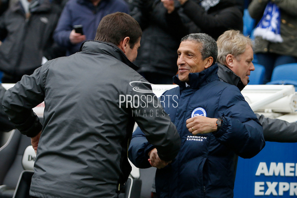 Burton Albion manager Nigel Clough and Brighton & Hove Albion manager Chris Hughton during the EFL Sky Bet Championship match between Brighton and Hove Albion and Burton Albion at the American Express Community Stadium, Brighton and Hove, England on 11 February 2017. Photo by Richard Holmes.