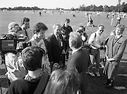 Charles Haughey Visits The Community Games. (T5)..1989..03.10.1989..10.03.1989..3rd September 1989..An Taoiseach, Charles Haughey TD,accompanied by Mr Frank Fahey, TD, Minister of State with responsibility for Youth and Sport attended the Twentieth National Finals of the Community Games at Mosney,  Co.Meath yesterday...Image shows  An Taoiseach,Charles Haughey TD, being interviewed by Aonghus McAnally at the community games in Mosney.
