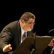 May 14, 2011 - Manhattan, NY : .Arturo O'Farrill leads the Afro-Latin Jazz Orchestra and the LaGuardia High School Senior Chorus in his world premiere of 'A Still Small Voice' during Symphony Space's Wall to Wall Sonidos concert on Saturday night. .CREDIT: Karsten Moran for The New York Times